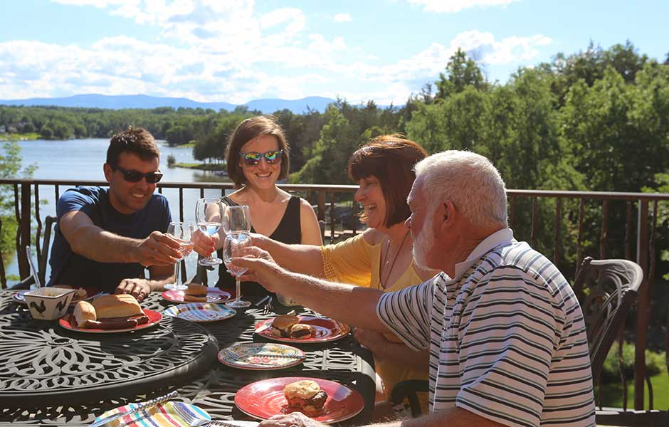 Enjoy a meal on your deck at Sleepy Hollow Lake in Athens NY