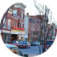 Image of the Main Street of catskill which is a nearby village to sleepy hollow lake