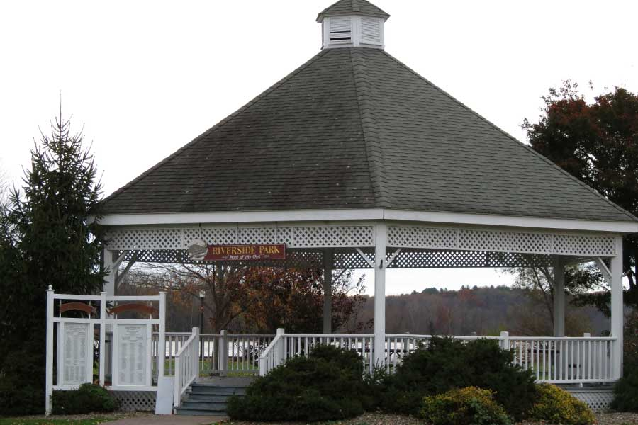 Riverside gazebo is just one of the many area attractions of Sleepy Hollow Lake in Athens NY